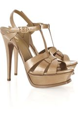Saint Laurent Tribute Patent-leather Sandals - Lyst