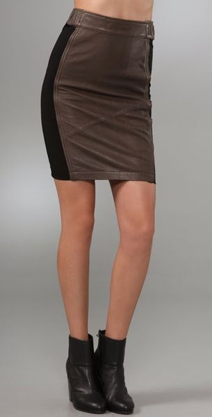 barlow leather pencil skirt in brown lyst