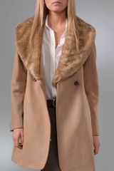 Club Monaco Vera Coat with Faux Fur Collar - Lyst