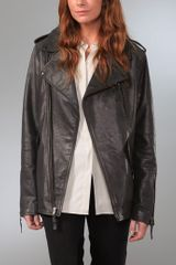 Elizabeth And James Boyfriend Biker Leather Jacket - Lyst