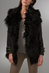 Gar-de Joffre Curly Fur Coat with Leather Sleeves - Lyst