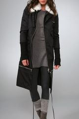 Victorialand Overlay Coat with Faux Fur Collar - Lyst