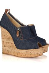 Christian Louboutin Deroba 140 Denim Peep-toe Wedges - Lyst