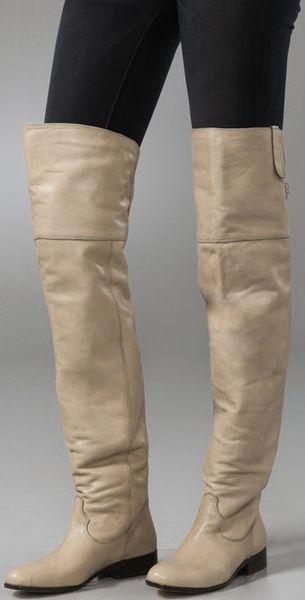 dolce vita donnie thigh high flat boots in beige lyst