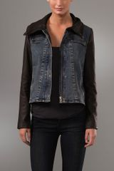 Helmut Lang Leather & Denim Jacket - Lyst