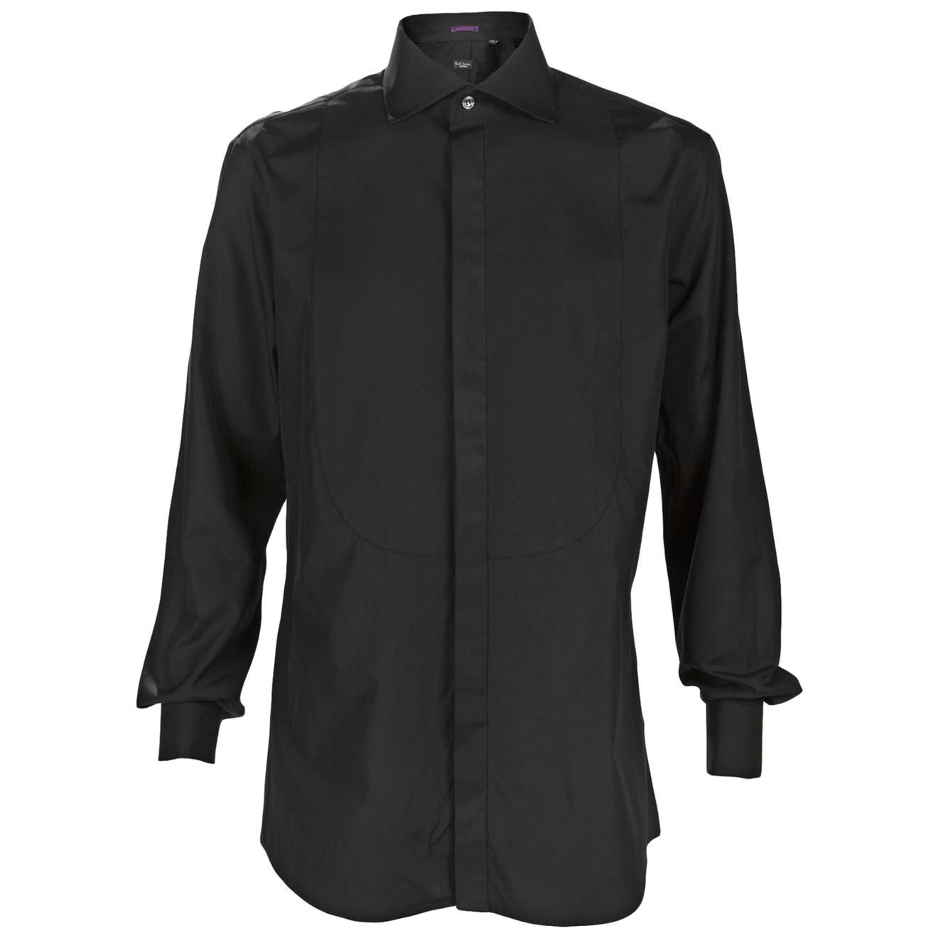 Paul smith french cuff tuxedo shirt in black for men lyst for Tuxedo shirt french cuff