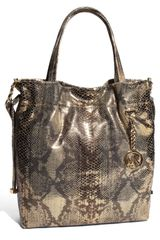 Michael by Michael Kors Jet Set - Large Python Embossed Drawstring Tote - Lyst