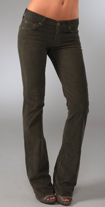 7 For All Mankind Boot Cut Corduroy Pants In Green Lyst