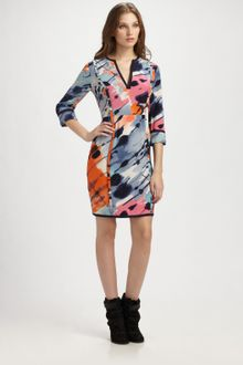 BCBGMAXAZRIA Printed Silk Jersey Dress - Lyst