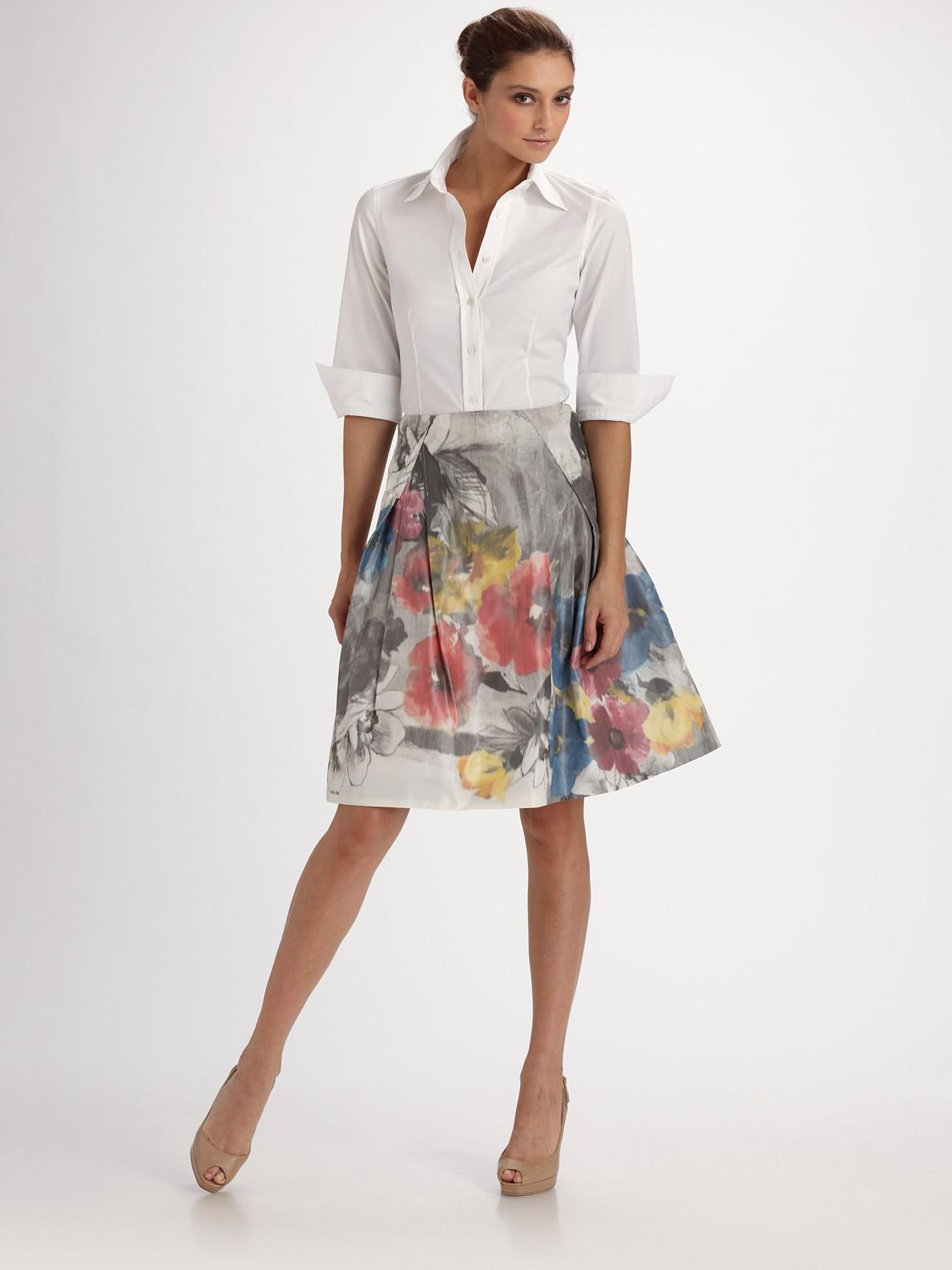 Lyst Carolina Herrera Floral Print Taffeta Party Skirt