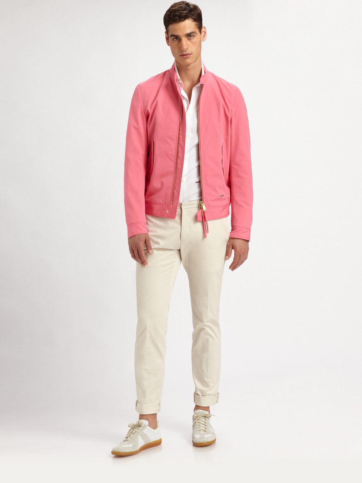Dsquared² Cotton Bomber Jacket in Pink for Men | Lyst
