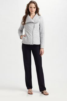 Eileen Fisher Quilted Asymmetric-zip Jacket - Lyst