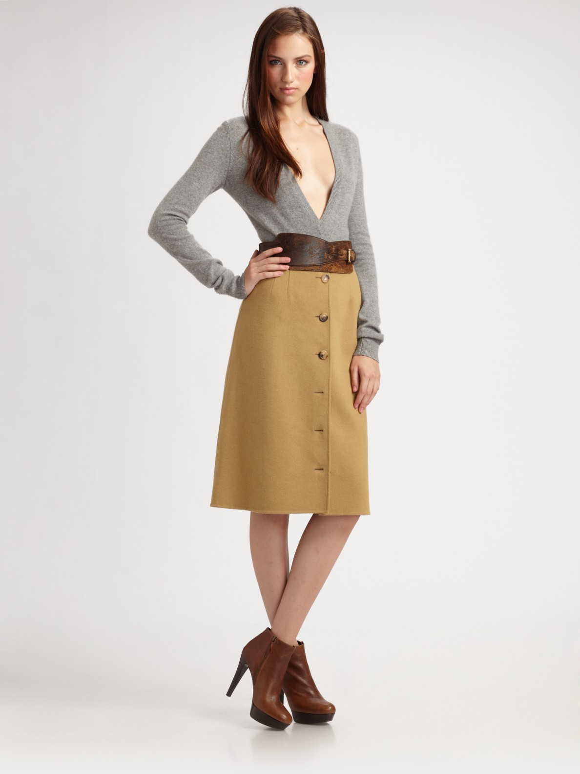 Michael kors Cashgora A-line Button Skirt in Brown | Lyst