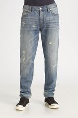 Michael Kors Distressed Straightleg Jeans in Purple for Men (indigo) - Lyst