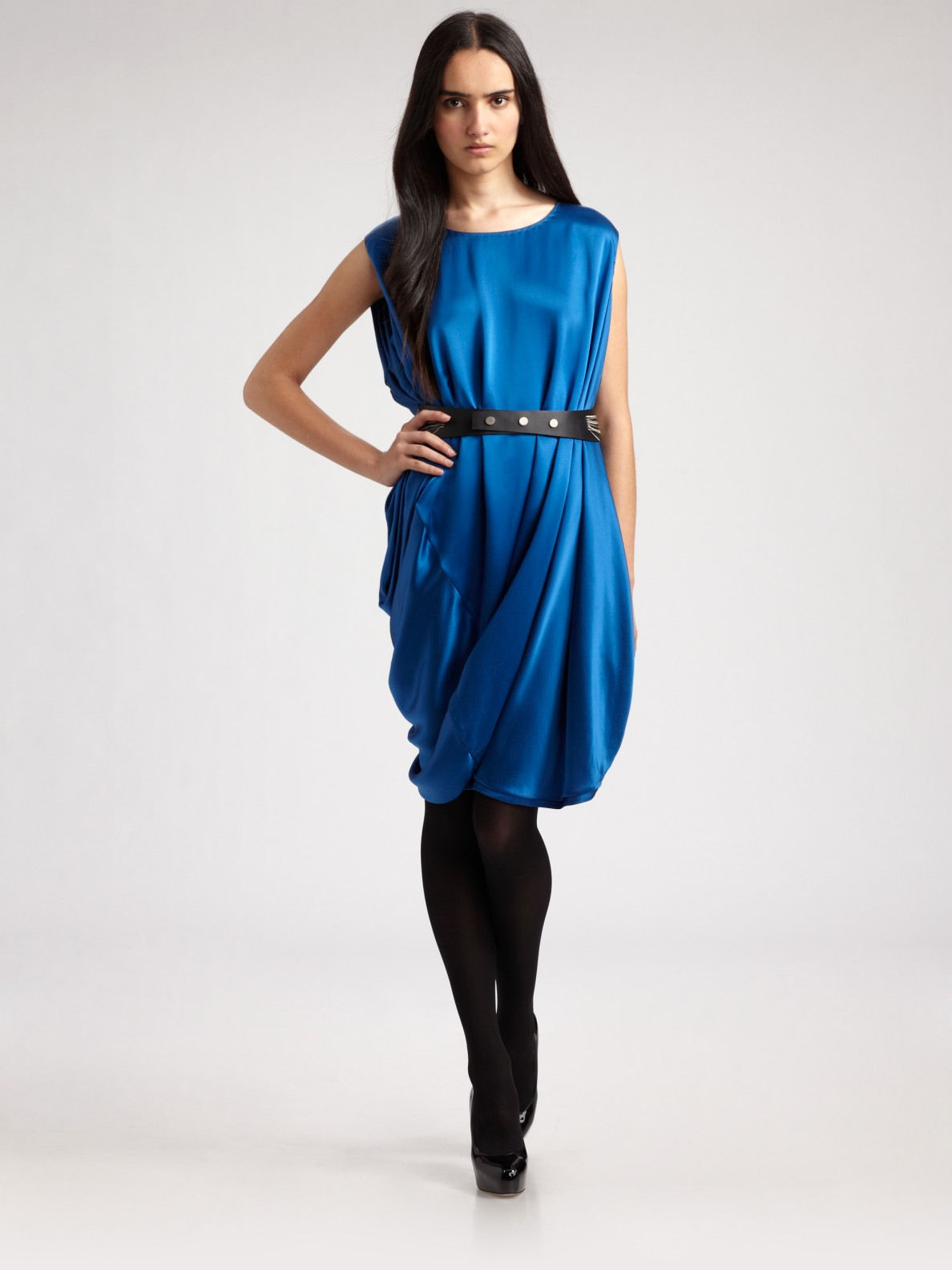 Ports 1961 Silk Charmeuse Bubble Dress in Blue - Lyst