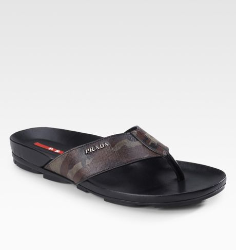 Prada Camouflage Thong Sandals In Brown For Men Lyst