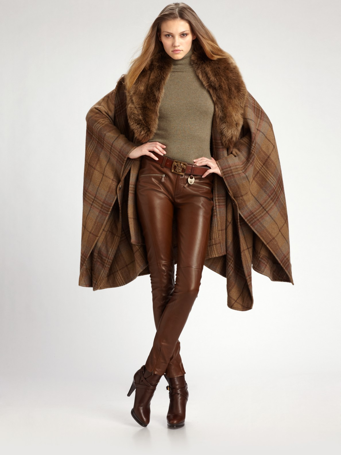 replicas attractivedesigns cheap for discount Ralph Lauren Blue Label Brown Leather Pants