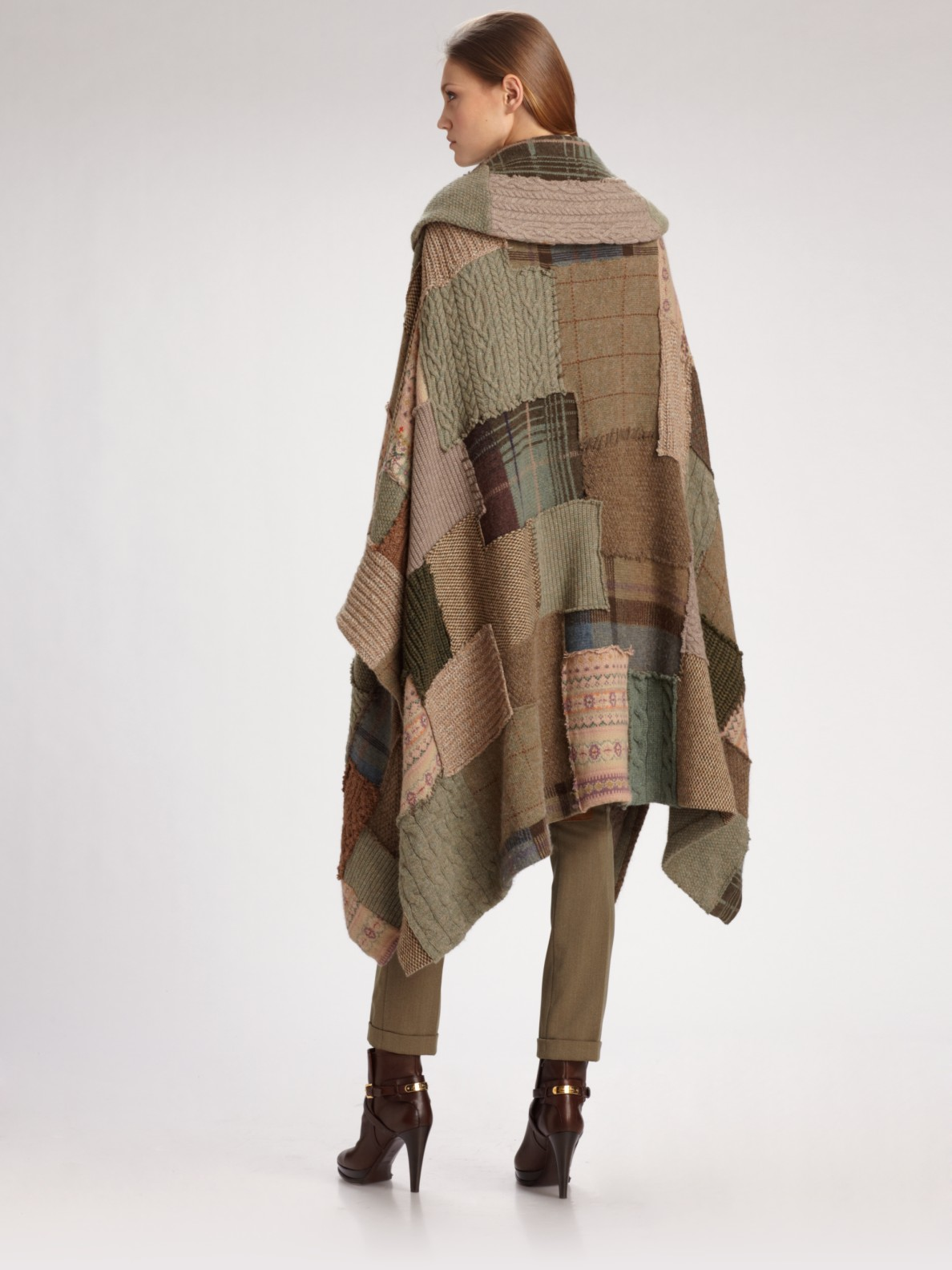 Ralph Lauren Blue Label Wool Cashmere Patchwork Poncho In