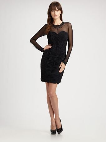 Vicky Tiel Illusion Ruched Cocktail Dress - Lyst