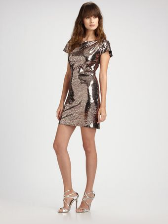Vicky Tiel Leopard Sequin Short Sleeve Dress - Lyst