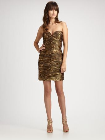 Vicky Tiel Leopard Silk Ruched Strapless Dress - Lyst