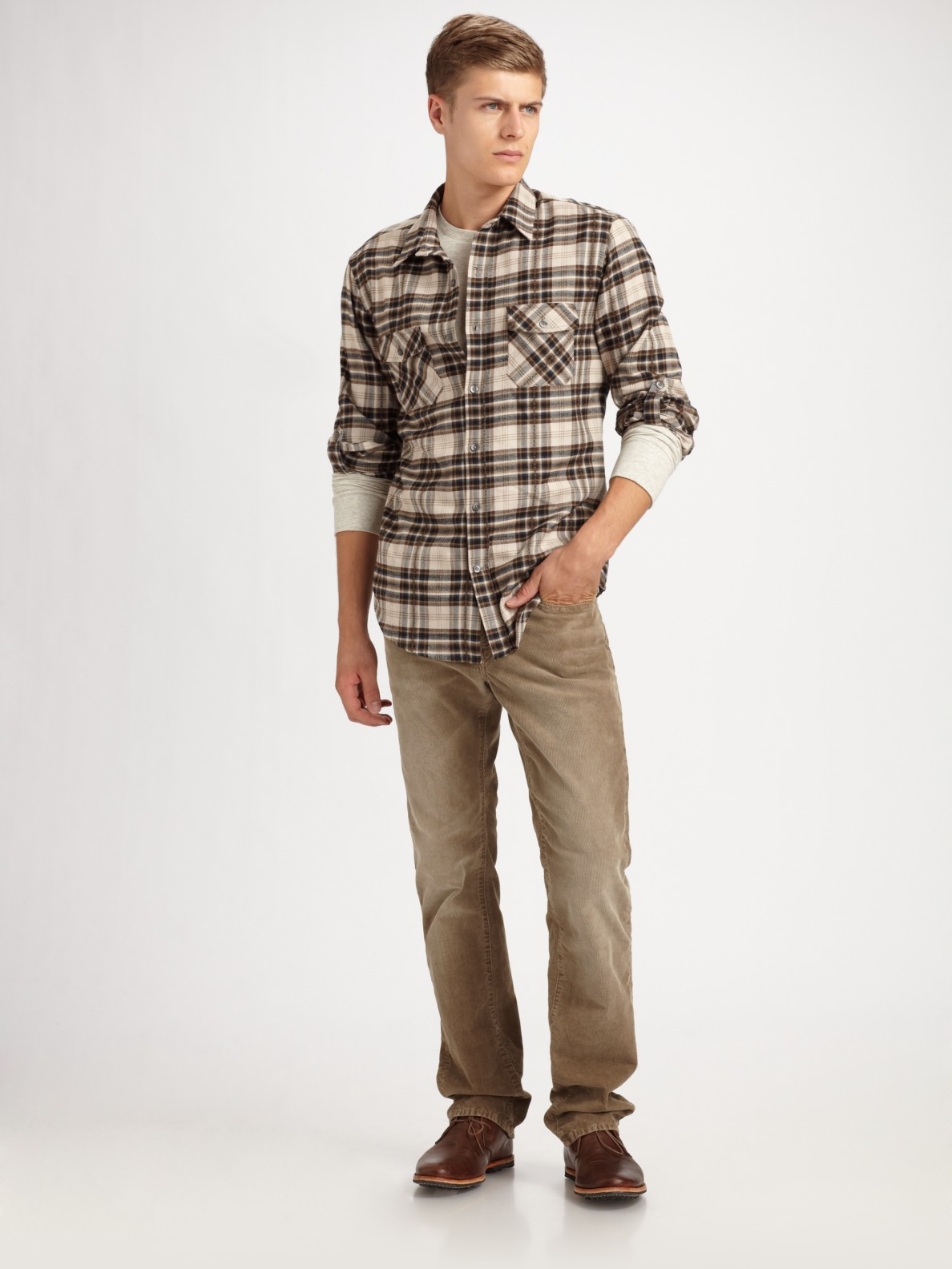 Vince Plaid Flannel Shirt In Green For Men Olive Lyst