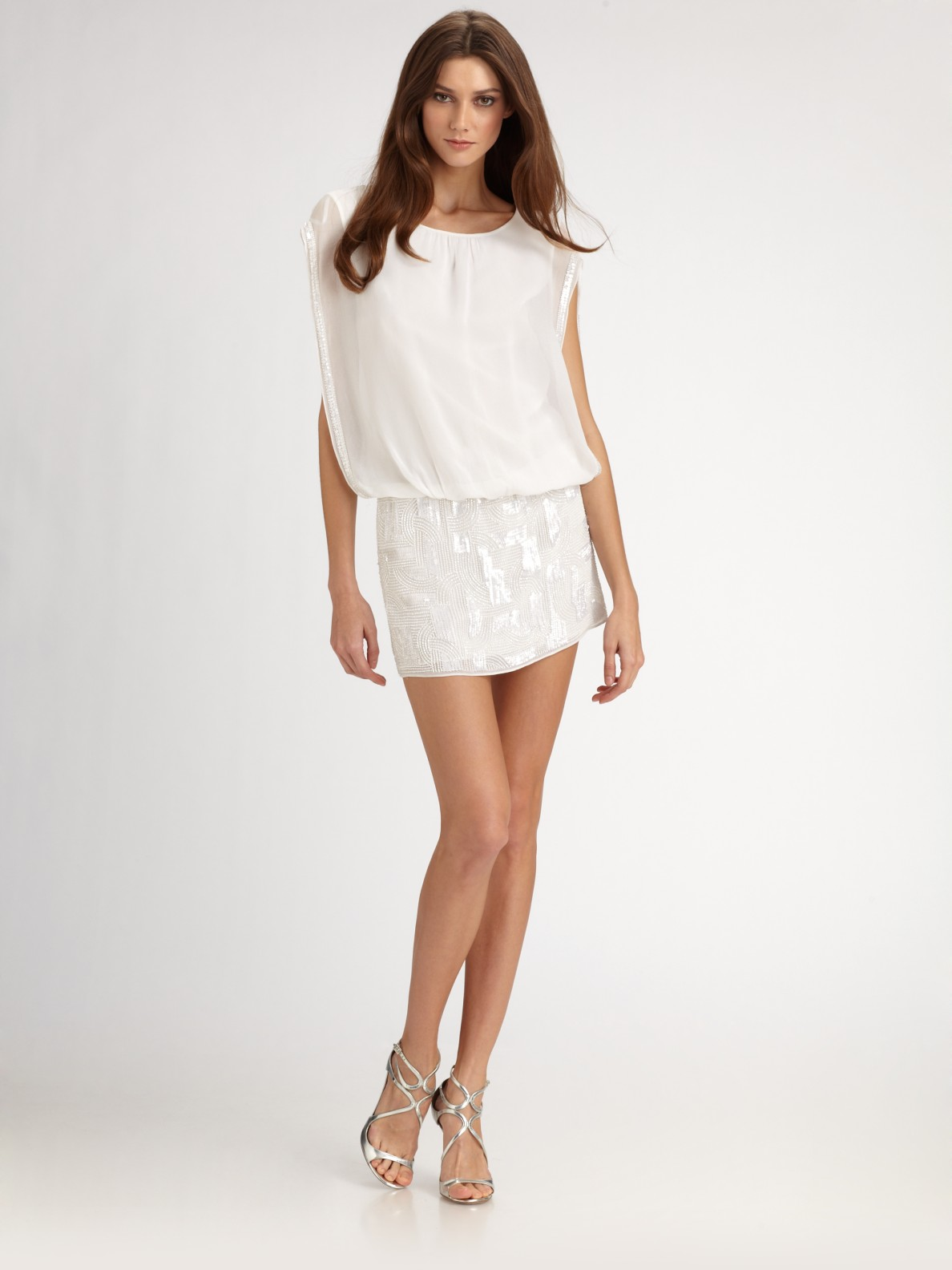43f2502fab3 Aidan Mattox Beaded Chiffon Blouson Mini Dress in White - Lyst