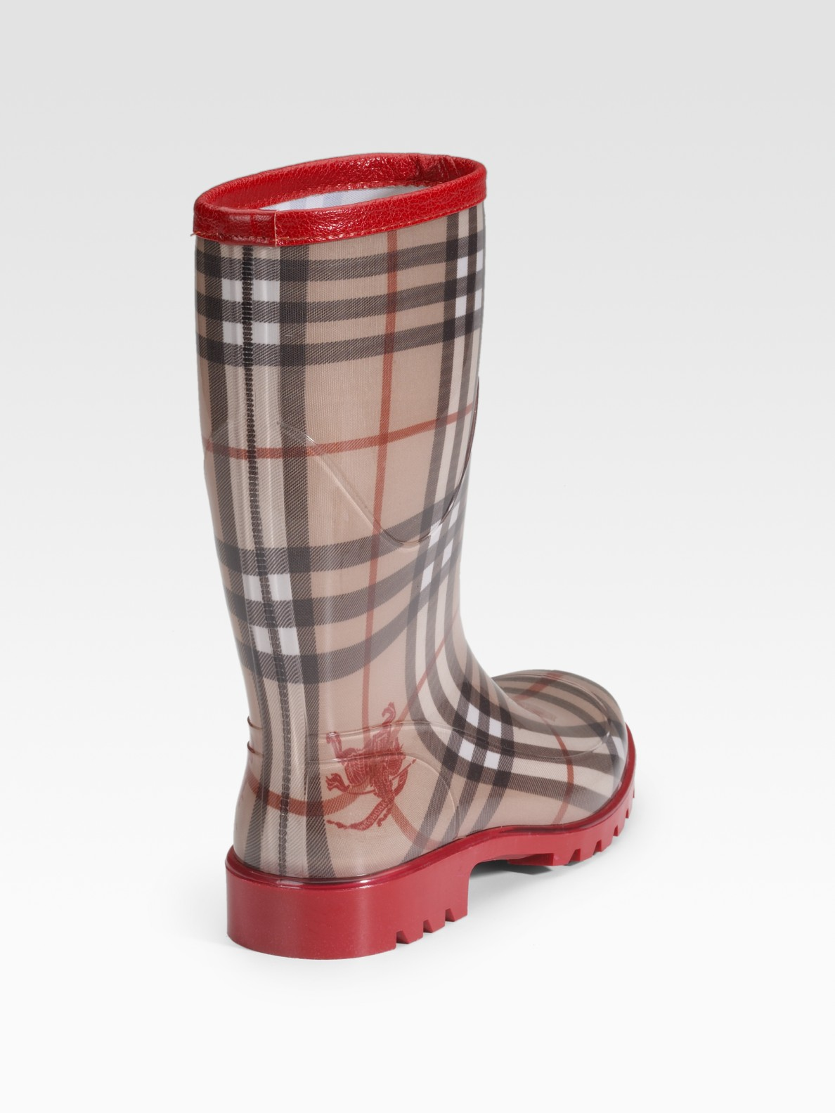 9fc25b45e3f8 Lyst - Burberry Rubber Rain Boots in Red