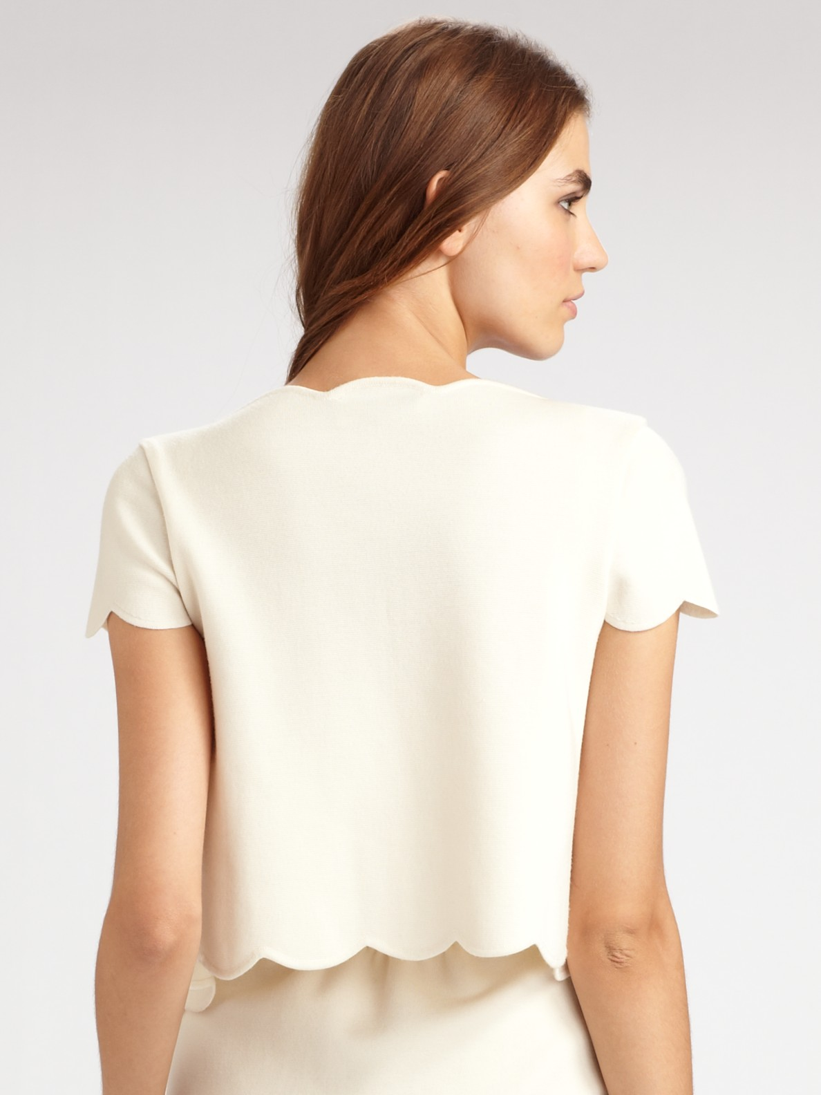 Dior Short Sleeve Cardigan in White | Lyst