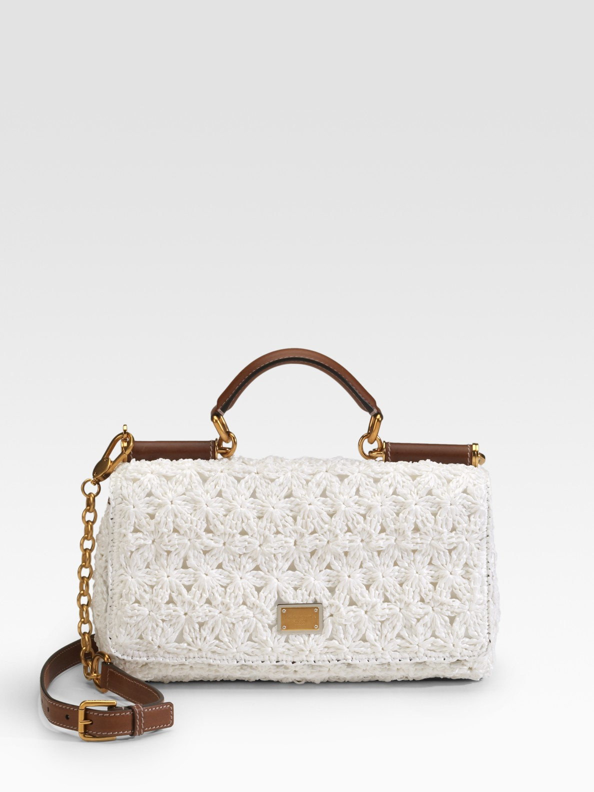 Lyst - Dolce   Gabbana Miss New Sicily Raffia Top Handle Bag in White 0bfdb417afe07