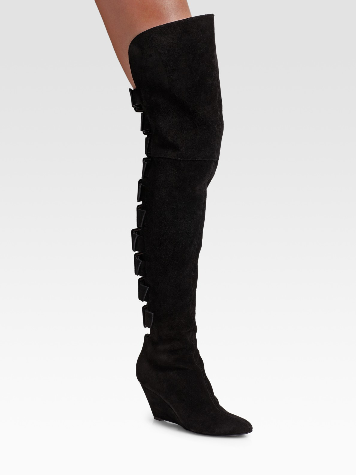 giuseppe zanotti the knee suede buckle detail boots