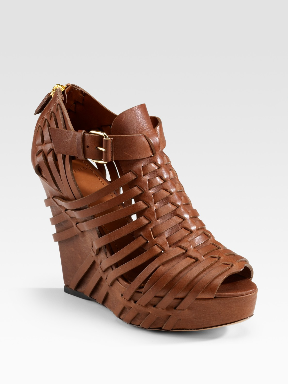 Givenchy Corinne Woven Leather Wedge Sandals In Brown Tan