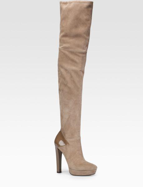 gucci suede thigh high boots in beige lyst