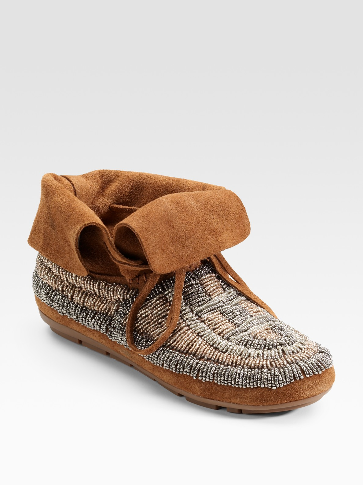 house of harlow 1960 beaded moccasin ankle boots in brown