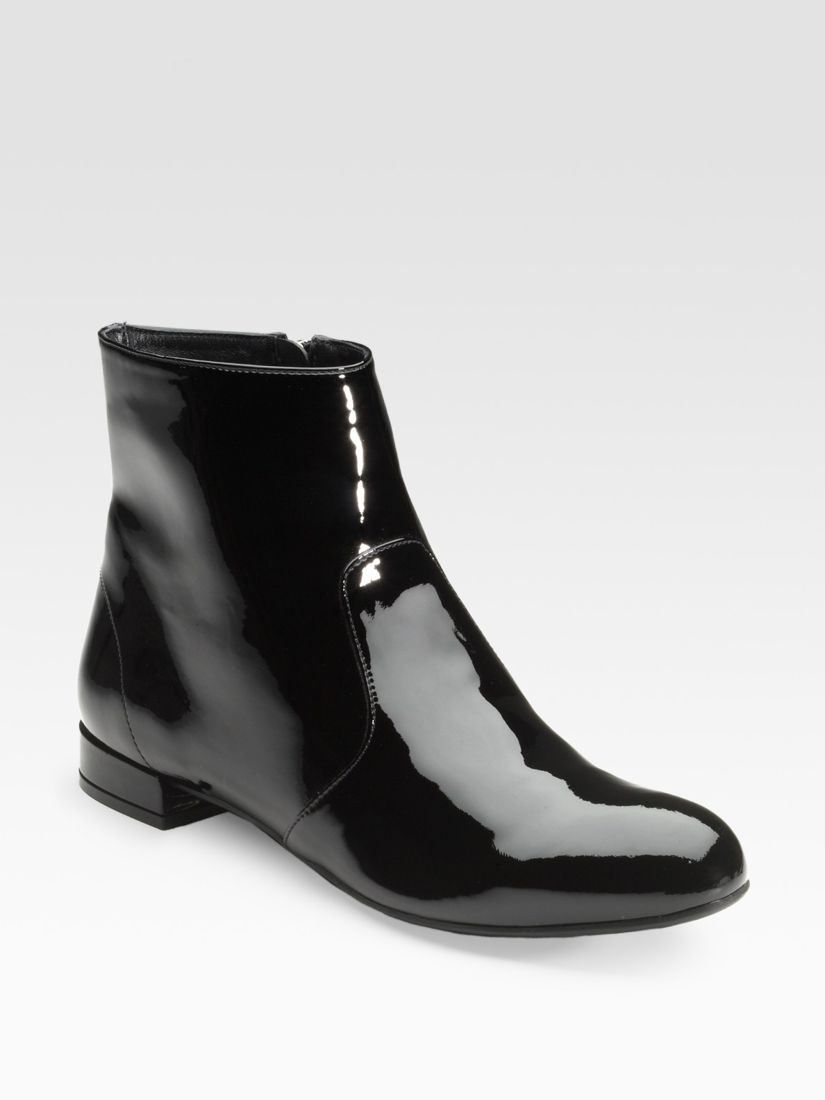 Prada Black Patent Leather Ankle Boots in Black | Lyst