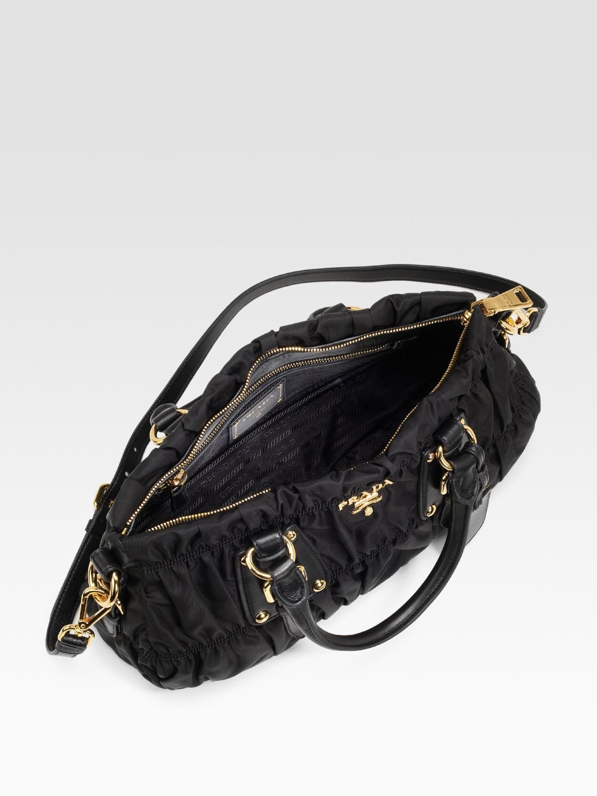 prada leather accessories - Prada Tessuto Gaufre Top Handle Bag in Black | Lyst