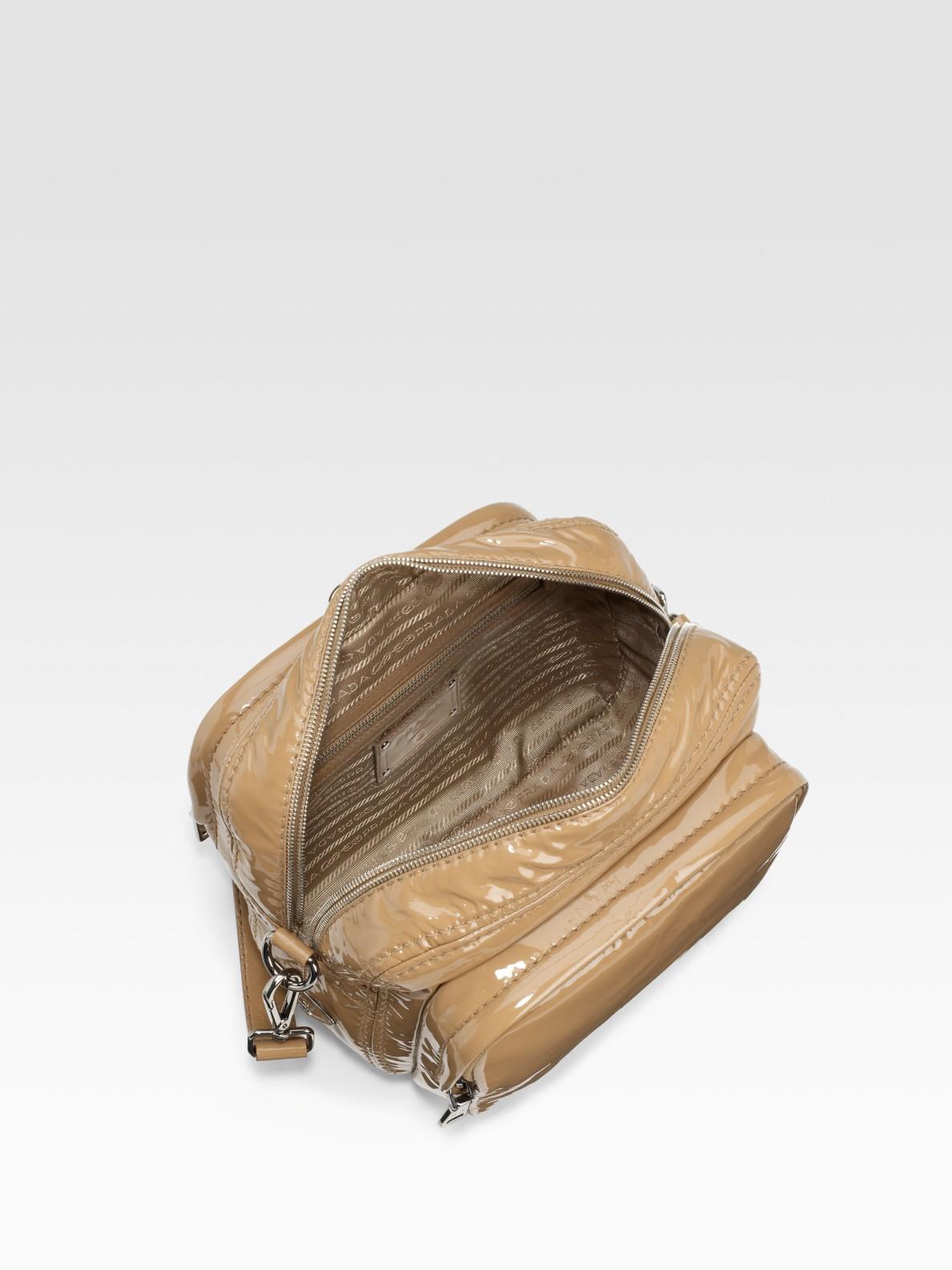 Prada Vernice Patent Leather Camera Bag in Beige (camel) | Lyst