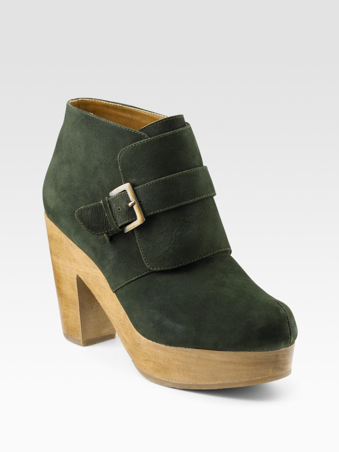 comey bernard clog bottom suede ankle boots in