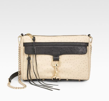Rebecca Minkoff Ostrich-embossed Leather Clutch in Beige (nude) - Lyst
