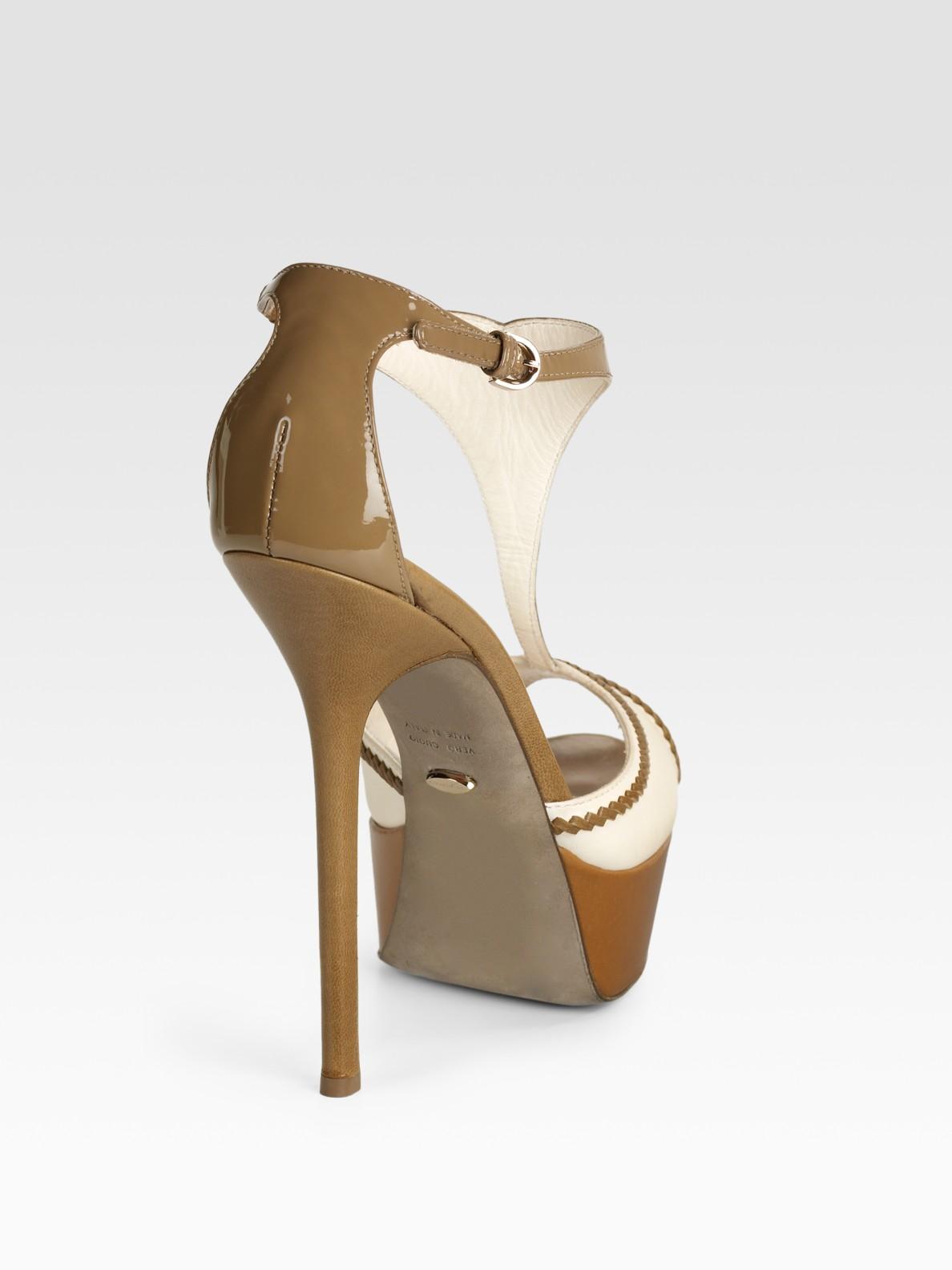 Sergio Rossi T Strap Leather Amp Patent Platform Sandals In