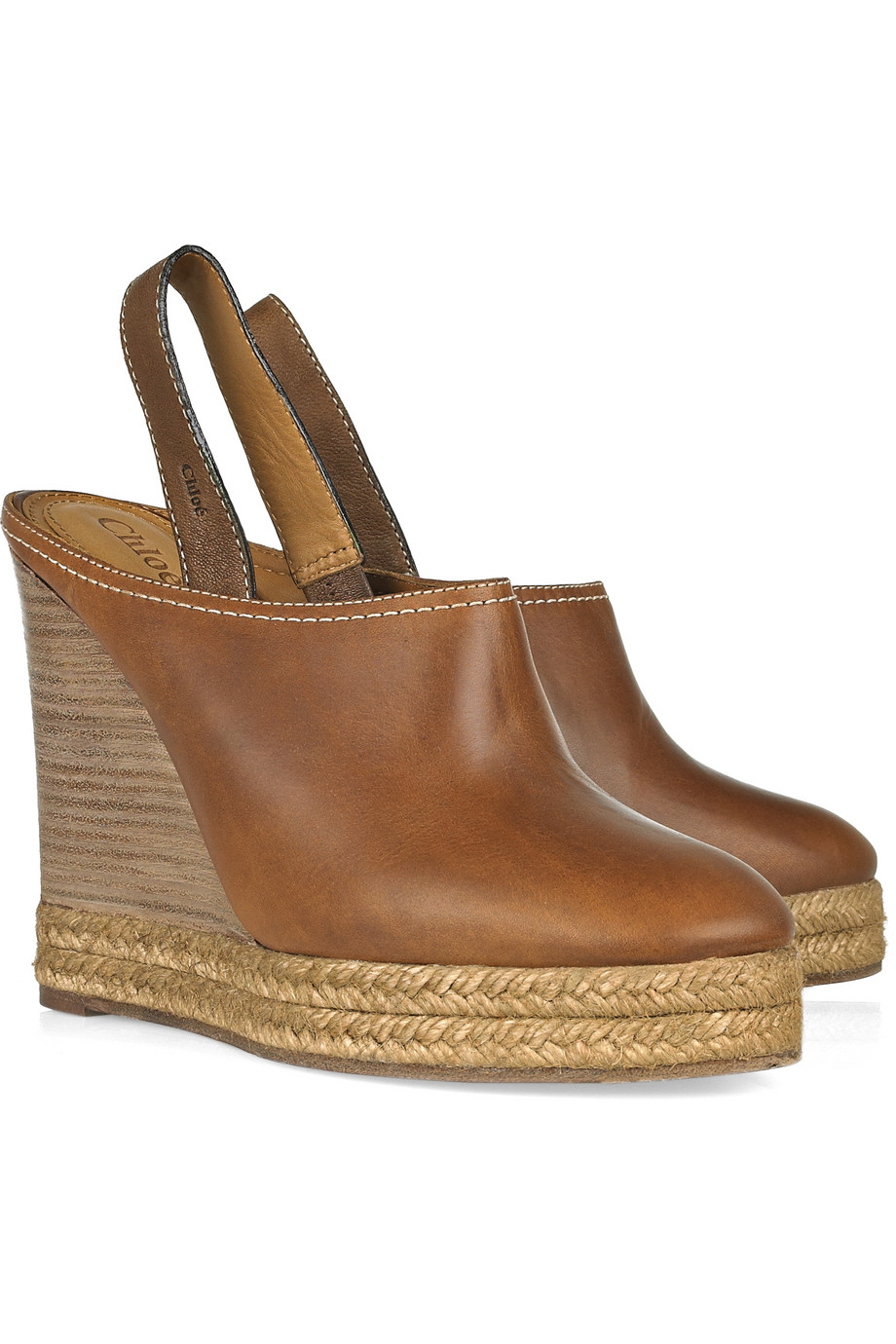 Chlo 233 Leather And Raffia Clogs In Brown Lyst