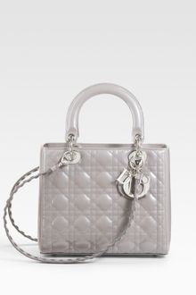 Dior Patent Quilted Cannage Lady Top Handle Bag - Lyst