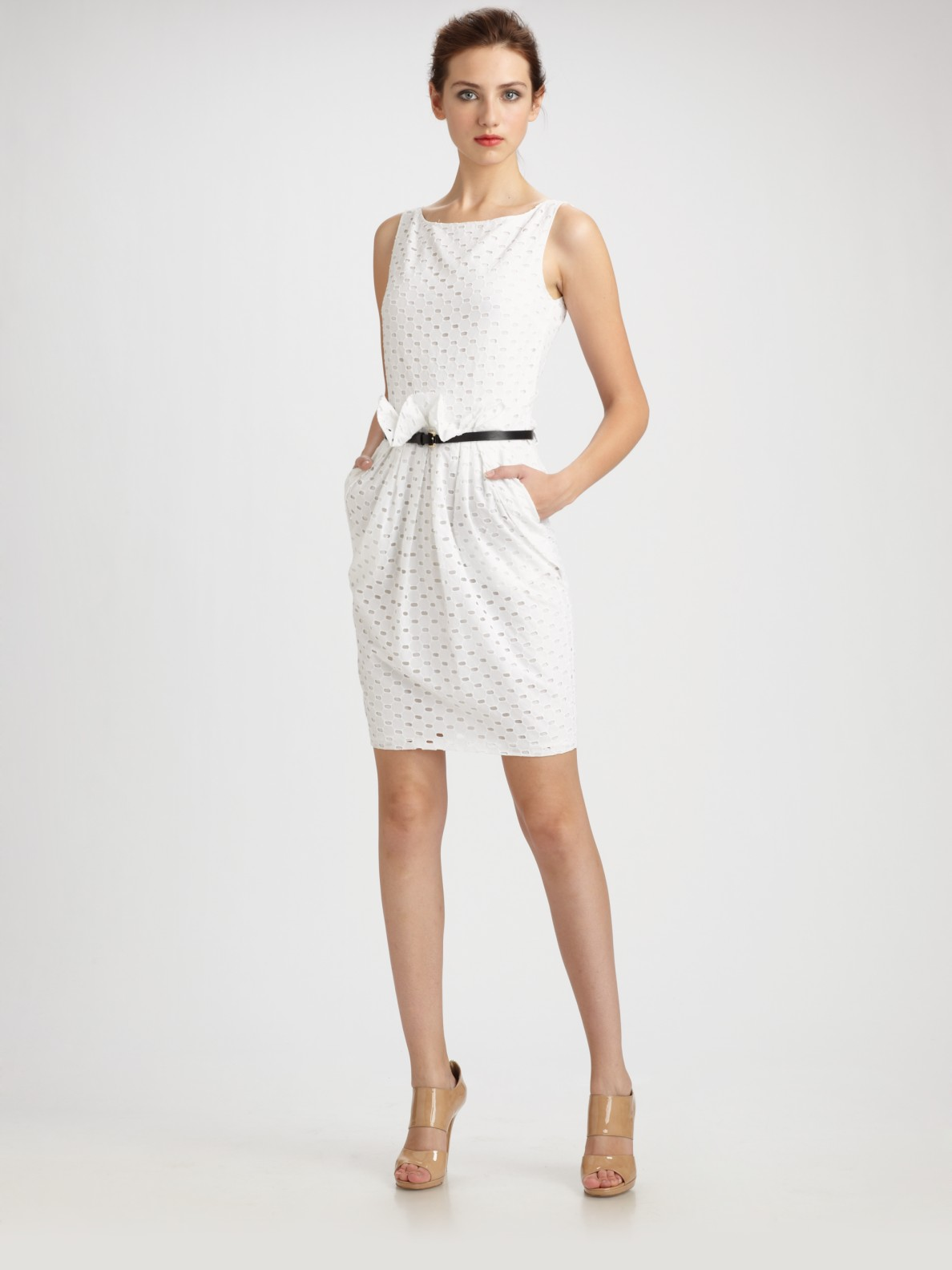 moschino cheap chic cotton eyelet belted shift dress in