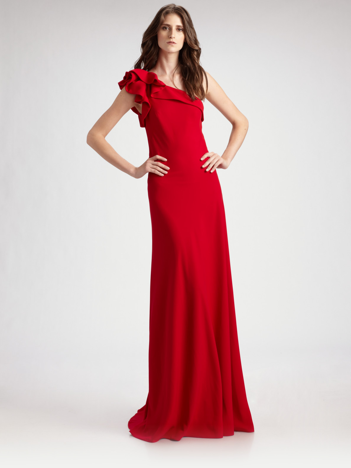 Lyst - Carmen Marc Valvo One Shoulder Crepe Gown in Red