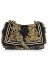 Roberto Cavalli Squirrel-trimmed Brocade Shoulder Bag - Lyst