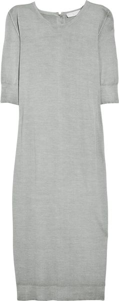 Stella Mccartney Buttonedback Wool Sweater Dress in Gray - Lyst