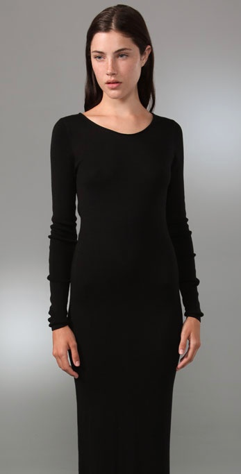 Long black maxi dress long sleeve