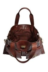 Tarnish Turnlock Flap Pocket Leather Tote in Brown (redwood) - Lyst