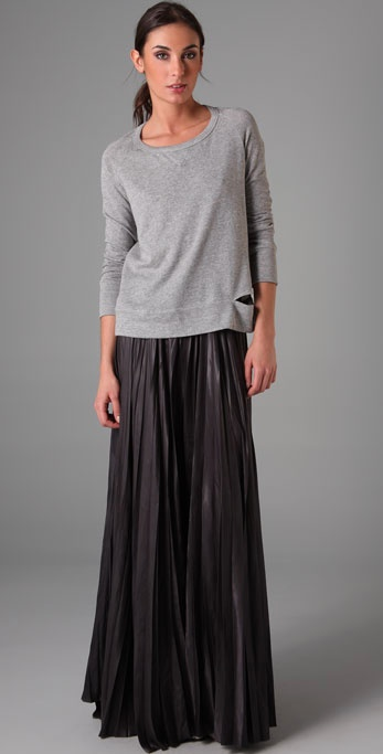 A.l.c. Long Pleated Skirt in Black | Lyst