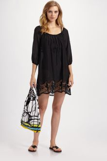 Diane Von Furstenberg Lace-trimmed Cotton/silk Coverup - Lyst